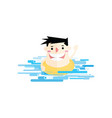 businessmen swimming in sea vector image