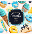 card with blue and yellow sweets vector image vector image