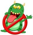 Cartoon Stop virus - green virus in red alert sign vector image vector image
