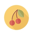 Cherry flat icon with long shadow vector image