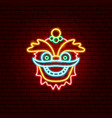 chinese mask neon sign vector image vector image