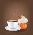 coffee cup with cupcake vector image