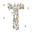 Crowded people alphabet figures and letters vector image vector image