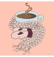 Cup of cocoa and pink scarf vector image