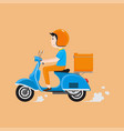 delivery man riding scooter with delivery case box vector image