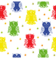 Different colour owl and stars seamless pattern vector image vector image