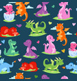 dragons children seamless pattern vector image