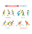 english sport football cricket rugbadminton vector image