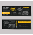 fast food coupon discount template flat design vector image vector image
