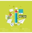 Flat background with papersTemwork concept vector image vector image