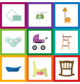 Flat icon child set of napkin toilet nappy and vector image