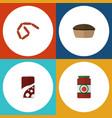 flat icon food set of ketchup tart bratwurst and vector image vector image