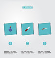 flat icons flask weapon revolver and other vector image