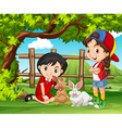 Girls playing with rabbits in the farm vector image vector image