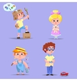 Group of cute happy cartoon kids vector image vector image