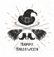 halloween greeting card vintage label hand drawn vector image vector image