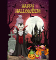 halloween on graveyard dracula and castle treats vector image vector image