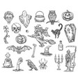 halloween witch monsters sketch icons set vector image vector image