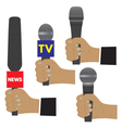 Hand with a microphone vector image