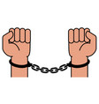 handcuffs on the hands of the criminal vector image vector image