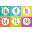 happy family of parents and children with dog vector image