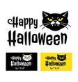 happy halloween card cat with vampire fangs and vector image