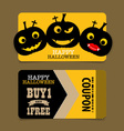 Happy Halloween Sale Coupon voucher and tag vector image