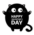 happy valentines day black round fat cat ready vector image
