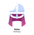 helm flat icon vector image vector image