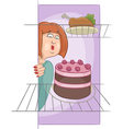 hungry woman on diet cartoon vector image vector image