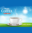 instant coffee ad with coffee cup on sunny vector image vector image