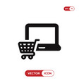 laptop icon with shopping cart sign vector image vector image