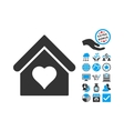 Love House Flat Icon With Bonus vector image vector image