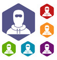 man in balaclava icons set vector image