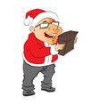 man wearing santa hat and holding a pouch vector image vector image
