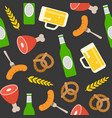 oktoberfest seamless pattern pretzel beer bottle vector image