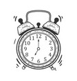old fashioned alarm clock ring sketch engraving vector image