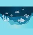 paper underwater seascape seafloor undersea with vector image