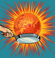 people with a frying pan fry the planet mars vector image vector image