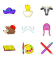 Preschool icons set cartoon style