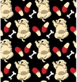 Puppy cute rest sleep relax seamless pattern dark vector image vector image