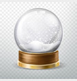 realistic crystal globe set with fallen snow gift vector image