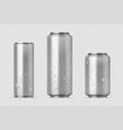 realistic metal cans aluminum bear soda and vector image vector image