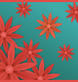 red paper flowers wallpaper vector image
