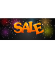 Sale with fireworks on night background vector image vector image