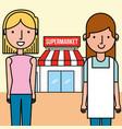 saleswoman and customer woman supermarket people vector image vector image