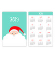santa claus head face red hat big beard pocket vector image vector image
