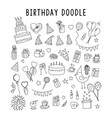 set element doodle gift birthday set of vector image vector image
