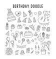 set element doodle gift birthday vector image