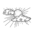 sun and clouds sketch vector image